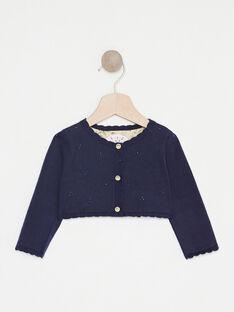 Marineblaue Baby-Strickjacke Fantasiemuster für Mädchen TAORELLE / 20E1BFO1CARC204
