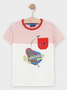 Kurzärmeliges T-Shirt für Jungen, weiß mit Streifen TEVIAGE / 20E3PGH1TMC000