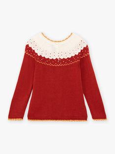 Haselnuss-Jacquard-Pullover für Mädchen BULLETTE / 21H2PFJ1PUL821
