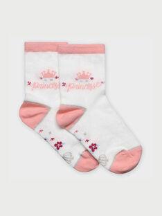 Weiß-rosa Socken RABIXETTE / 19E4PF41SOQ001