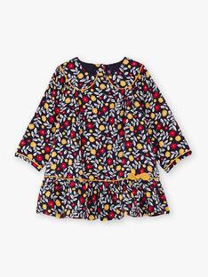 Baby Mädchen marineblau und weiß Kleid mit geblümten Druck BAELLA / 21H1BF51ROB070