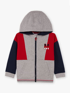 Baby Junge grau und rot Hoodie BASAGE2 / 21H3PG33JGH943