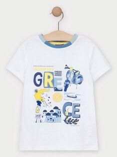 Kurzärmeliges T-Shirt für Jungen, ecru TIDOAGE / 20E3PGO1TMC001