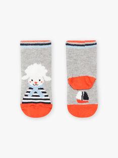 Grau melierte Socken mit Schafen und Streifen für Baby-Jungen BANICOLAS / 21H4BGL1SOQ943