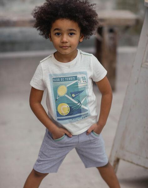 Weißes und blaues T-Shirt für Jungen ZEBILAGE / 21E3PGO1TMC001