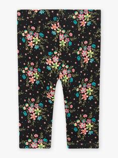 Schwarze Leggings mit Blumendruck für Mädchen BAMADDY / 21H4BFM1CAL090
