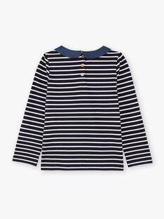 Marineblau und weiß gestreiftes Mädchen-T-Shirt BIMARETTE / 21H2PF52TML070