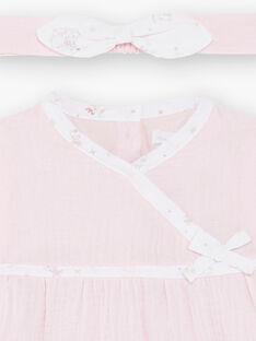 Blassrosa Baumwolle Gaze Kleid, Leggings und Baby Mädchen Stirnband Set ZOFIA / 21E0CFG2ENS301