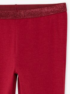 Unifarbene burgunderfarbene Leggings für Baby-Mädchen mit Pailletten-Details BRONETTE 4 / 21H4PFB5CTT719