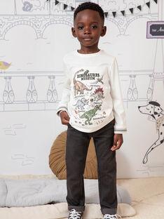 Ecru-Langarm-T-Shirt für Jungen mit Dinosaurier-Print BAMOAGE / 21H3PG21TML001