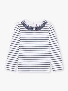 Marineblaues Matrosen-Langarm-T-Shirt für Mädchen BROMARETTE1 / 21H2PFB1TML001
