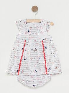 Ecrufarbenes Baby-Streifenkleid für Mädchen TATIPHENE / 20E1BFW1ROB001