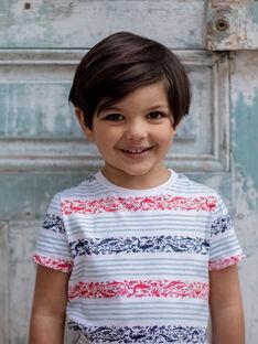 Himmelblau gestreiftes T-shirt Kind Junge ZIZAGE / 21E3PGT1TMC000