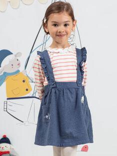 Kind Mädchen blauer Rock mit gerüschten Trägern BYJUPETTE / 21H2PFL1JUP222