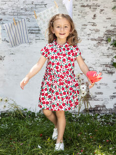 Baby Girl's White and Red Floral Print Kleid BABILETTE / 21H2PF11ROB001
