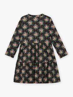 Schwarzes langärmeliges Kleid mit Blumendruck für Baby Mädchen BRITNETTE / 21H2PFM1ROB090
