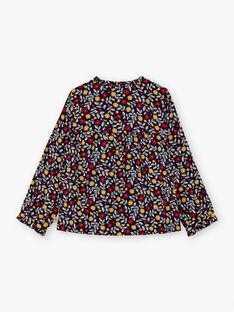 Marineblaue und rote Bluse mit Blumendruck für Mädchen BIDIETTE / 21H2PF51CHE070
