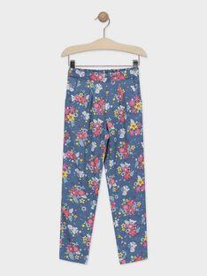 Hose mit blauem Blumendruck für Mädchen TAEFIETTE 3 / 20E2PFM1PAN210