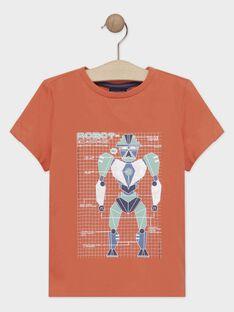 Korallenfarbiges kurzärmeliges T-Shirt für Jungen TIONAGE / 20E3PGP2TMC415