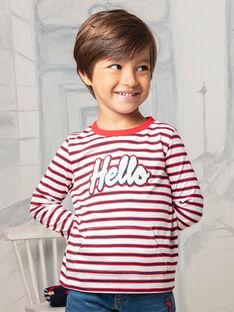 Langärmliges gestreiftes T-Shirt für Jungen mit Hello-Schriftzug BEBILAGE / 21H3PG52TML001