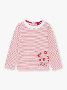 Baby Mädchen weiß und rot gestreiftes T-shirt BACHETTE / 21H2PF11TMLF505