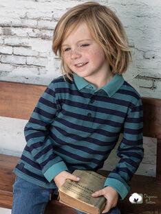 Marineblau gestreiftes Poloshirt für Jungen BUXAGE3 / 21H3PGB1POL202