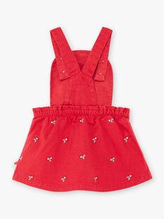 Rotes trägerloses Kleid mit Mohnstickerei für Baby Mädchen BAAXELLE / 21H1BF11ROBF505