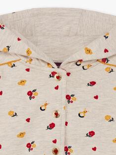 Baby Mädchen rot und beige Hoodie mit Blumendruck BAELISA / 21H1BF51JGHA011