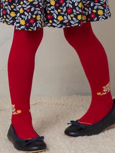 Rote Strumpfhose für Mädchen mit Fuchsmuster BIZOUETTE / 21H4PF51COL050
