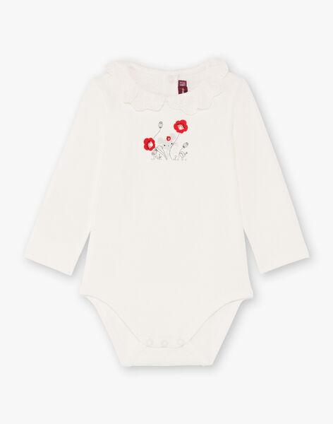 Baby Girl's Ecru Langarm Body mit Stickerei Anglaise Kragen BAANDREA / 21H1BF11BOD001