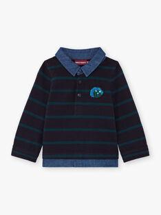 Blau gestreiftes Langarm-Poloshirt für Baby-Jungen BAJORGE / 21H1BG91POL715