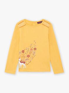 Senfgelbes T-Shirt für Mädchen mit Rehkitz- und Blumenmotiven BUBIZETTE / 21H2PFJ2TMLB106