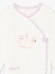 Ungebleichter Strampler für Baby-Mädchen mit Katzen-Print BEJOHANA / 21H5BF71GRE001