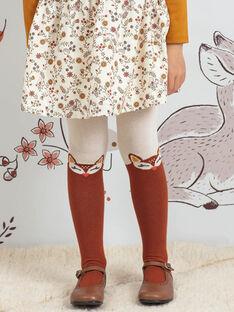 Beige und braune Strumpfhose mit Hirschmotiven Kind Mädchen BUCHUETTE / 21H4PFJ1COL001