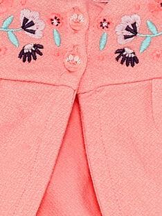 Rosa bestickte Baby-Strickjacke für Mädchen TAQAROLE / 20E1BFP1CARD323