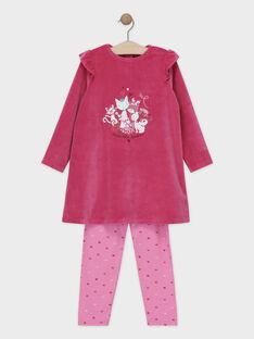 Nachthemd Oberteil aus Samt und Unterteil aus rosa Jersey für kleine Mädchen SYVONETTE / 19H5PFK1CHND328