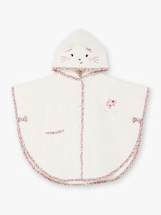 Baby Mädchen ecru und rosa Kapuzen-Badeumhang BEBRUNE / 21H5BF61CDB001