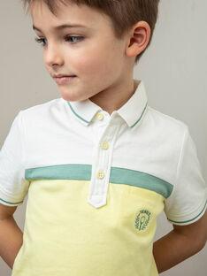 Poloshirt ecru, gelb und grün Kind Junge ZECHAGE / 21E3PGO1POL001