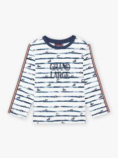 Gestreiftes Langarm-T-Shirt für Jungen mit Hai-Aufdruck BIPOLIAGE / 21H3PGL1TML001