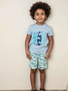 Bermudashorts türkis und ecru Junge Kind ZUZUAGE2 / 21E3PGL1BERC235