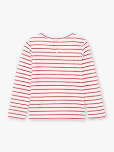 Langärmeliges rotes Matrosen-T-Shirt für Mädchen BROMARETTE2 / 21H2PFB6TML001