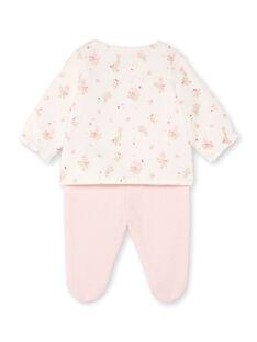 Weiß und rosa Jacke mit Blumendruck und rosa Leggings für ein Mädchen BONNIE / 21H0NF41ENS301