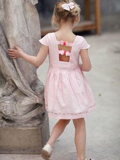 Rosa besticktes Kleid für Mädchen TYNOETTE / 20E2PFJ3ROB321