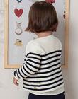 Baby Mädchen ecru und marineblau gestreifte Weste BAELODIE / 21H1BF51CAR001