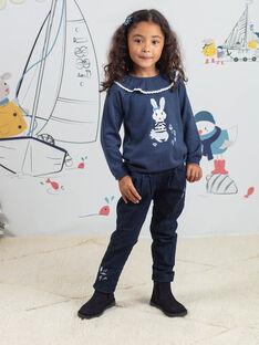 Denim-Papiertaschenhose für Kind Mädchen BYJEANETTE / 21H2PFL1JEAP269
