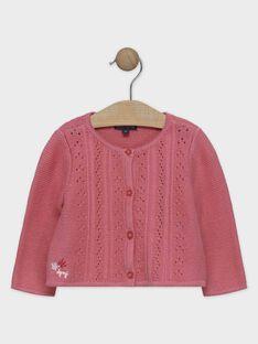 Rosa Baby-Strickjacke für Mädchen SANAELLE / 19H1BFE2CAR307