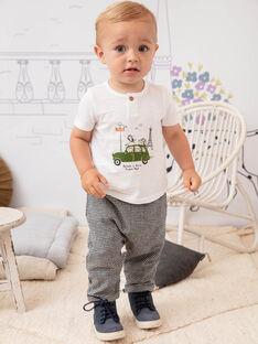 Baby-Jungen-T-Shirt in Weiß und Grün BADAEL / 21H1BG21TMC632