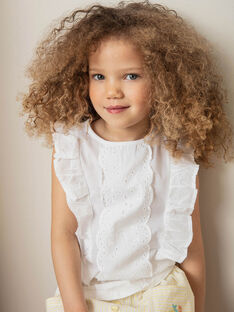Weißes T-shirt Kind Mädchen ZITIZETTE / 21E2PFO2TMC000