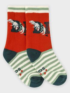 Orangefarbene und grüne Bouclé-Socken für kleine Jungen TACHAUSSAGE / 20E4PGB1SOQ403