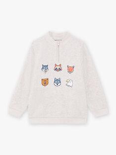 Baby Boy grauer Pullover mit Tierstickerei BIAGE / 21H3PGJ1PULJ902